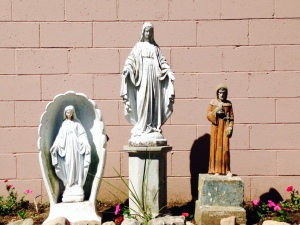 Mary, Mary, St. Francis. Found in the church yard at St. Ann's, Bridgeport, CT.